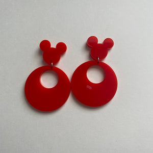 Red 80s Inspired Retro Mouse Earrings