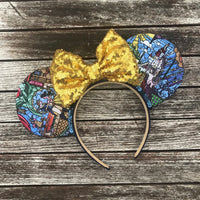 Stained Glass Beauty and the Beast Mouse Ears