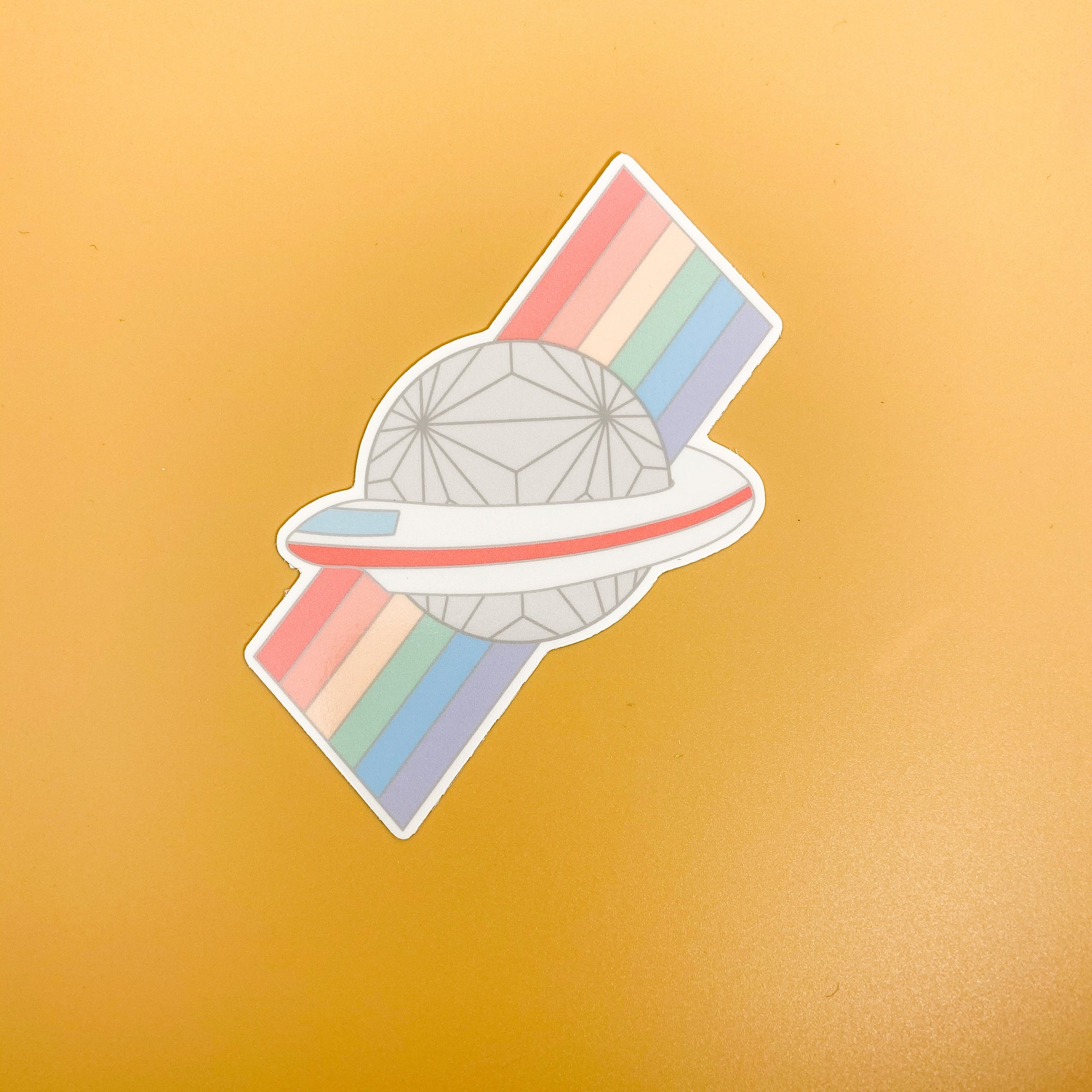 Rainbow Spaceship Earth Sticker