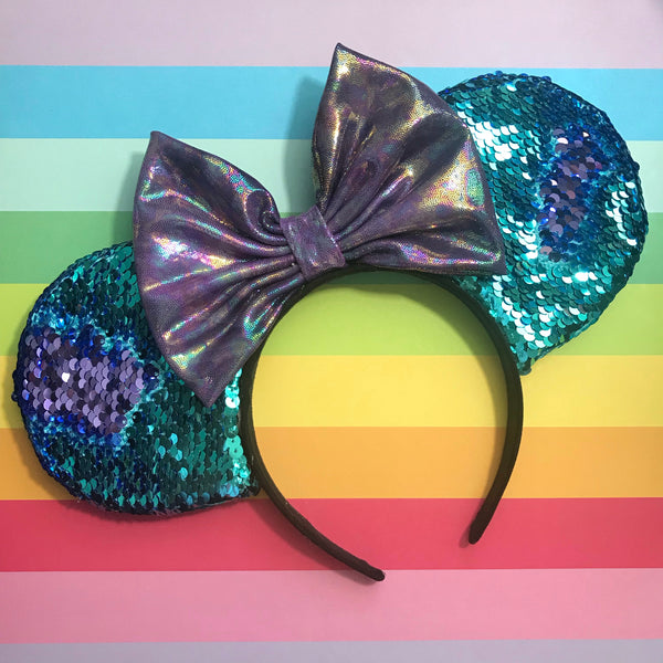 Purple and Blue Reversible Sequin Mouse Ears