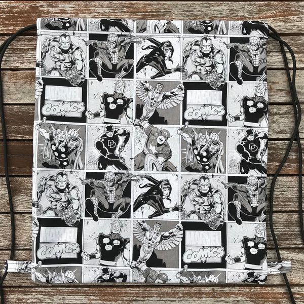 Marvel Comics B/W Drawstring Bag