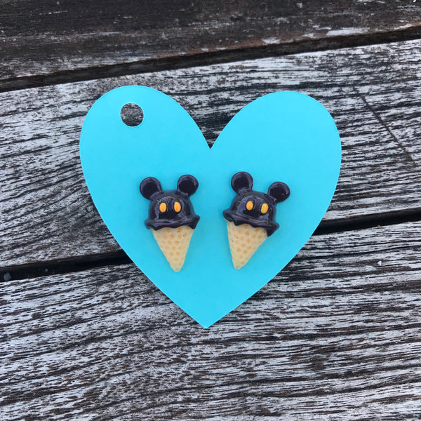 Chocolate Mouse Ice Cream Stud Earrings