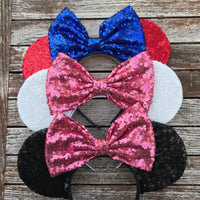 Black All Over Sequin Mouse Ears (STRAWBERRY)