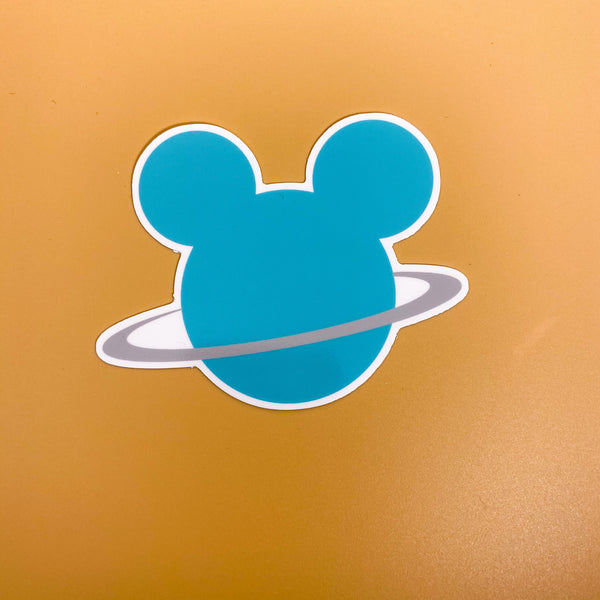Teal Mouse Head Planet Sticker
