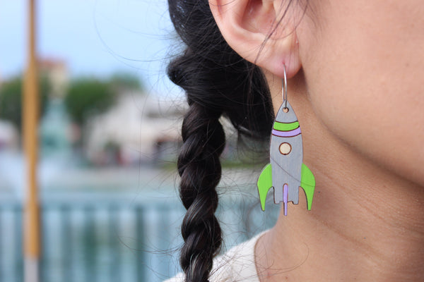 Spaceship Hoop Earrings