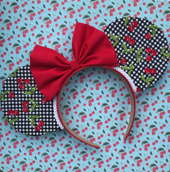 Cherry Gingham Mouse Ears