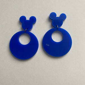 Blue 80s Inspired Retro Mouse Earrings