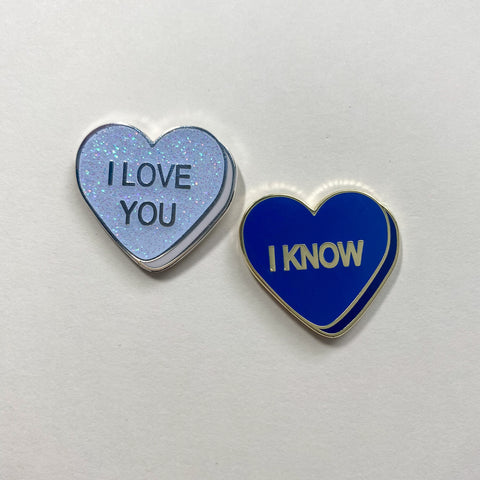 I Love You || I Know || Star Wars Inspired Conversation Heart Pins