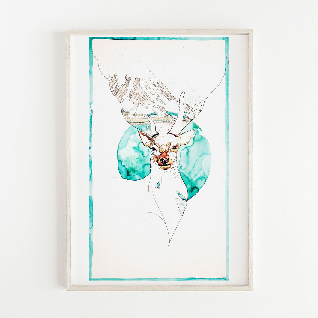 Illustration of a deer in front of a mountain. Print by Irish Visual Artist and Illustrator Deirdre Byrne