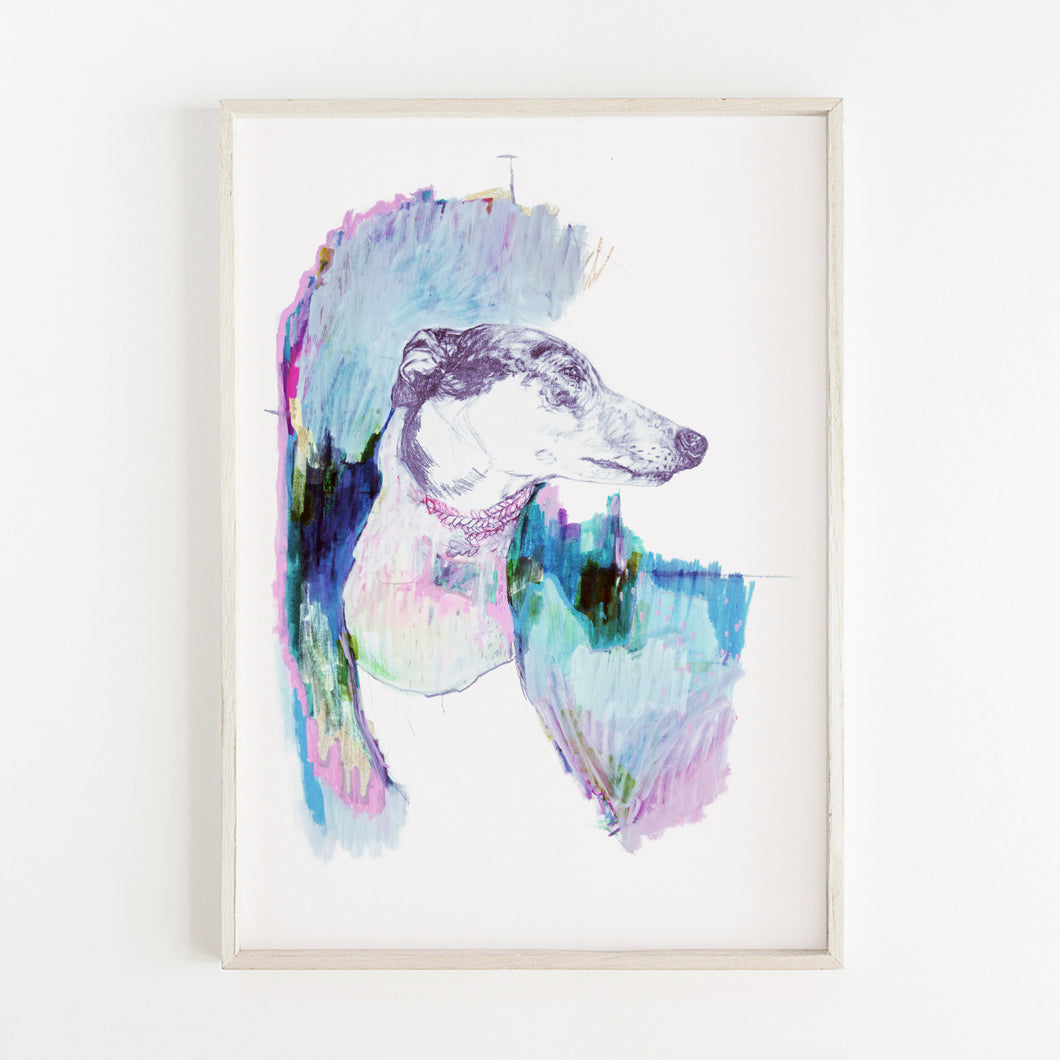 Print of an Illustration of a dog by Irish Visual Artist Deirdre
