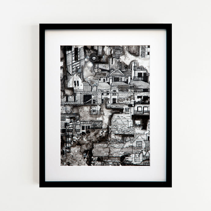 Original Pen and Ink BLack and White drawing of an urban landscapeby Irish Artist Deirdre Byrne