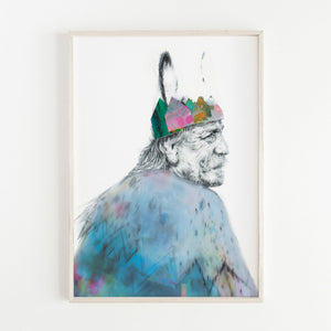 Framed illustration of the king from the Irish legend Liongseach. Print by Irish visual Artist Deirdre Byrne. The king´s face is drawn in pencil and the crown and cutouts are posca and gouache paper cutouts.
