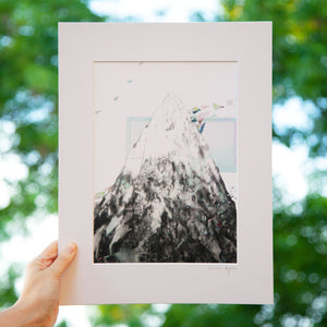 Digital print of a drawing of a mountain with paper cut outs. Illustration based on Milford Sound, New Zealand. Illustration by Deirdre Byrne, Irish Visual Artist