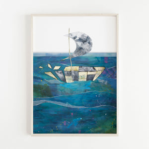Framed Illustration of Sister Ships II by Irish Visual Artist Deirdre Byrne. Print shows boat based on the broighter hoard boat made of gold and black and white cut outs on a paper cut out blue sea with white sky.