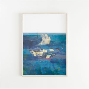 Framed Print of an illustration by Irish Visual Artist Deirdre Byrne. A boat made of gold and black and white cut outs sails over a mixed media blue posca sea