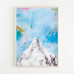 Print of an illustration of a mountain with abstract blue and pink background by Irish visual artist Deirdre Byrne