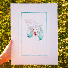 Load image into Gallery viewer, Illustration of a deer in front of a mountain. Print by Irish Visual Artist and Illustrator Deirdre Byrne