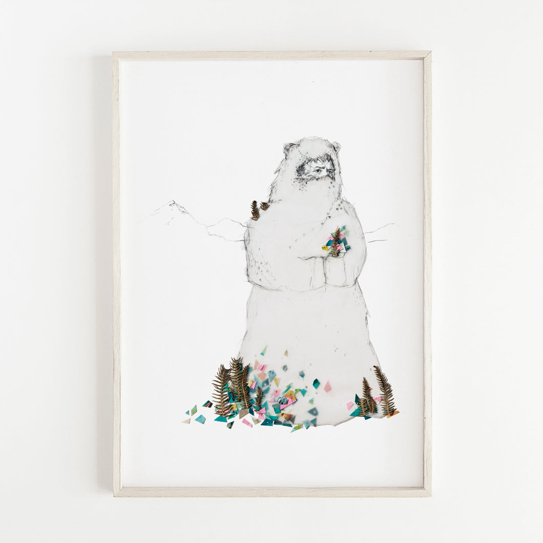 Print of Yeti illustration by artist Deirdre Byrne. Drawing of Yeti with pink, green gouache cutouts and real leaves. Minimal white background.