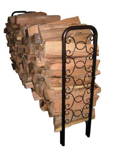 8' Ornamental Scroll Hammered Bronze Firewood Rack (82436) at Log Splitter HQ