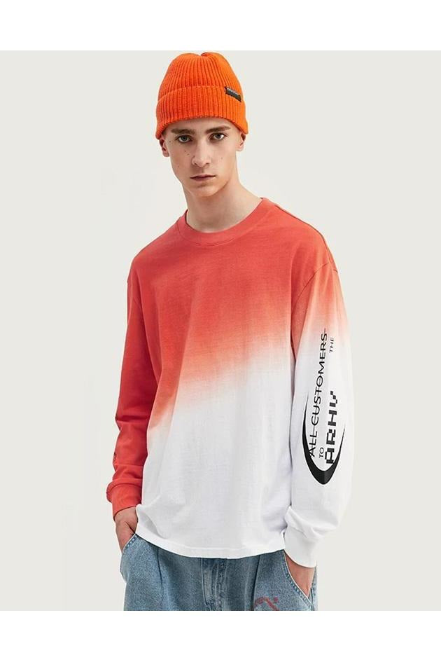 DESIGN Dip Dyed Red & White Long Sleeve T-Shirt - SKYCLUB