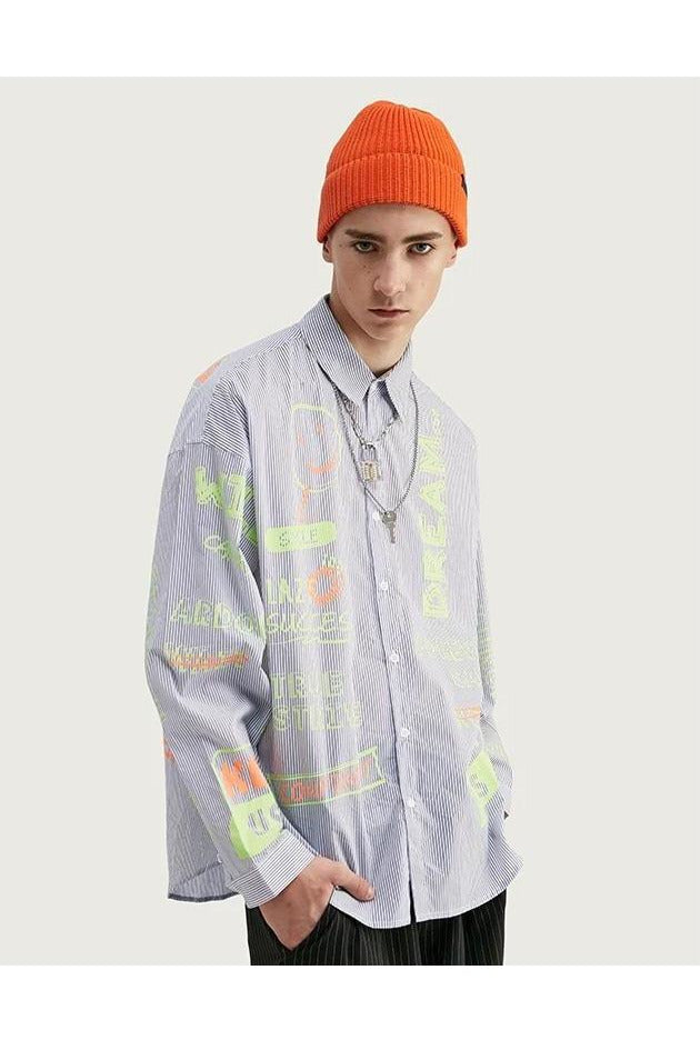 Relaxed Fit Multi Stripe Fluorescence Print Shirt Street - SKYCLUB