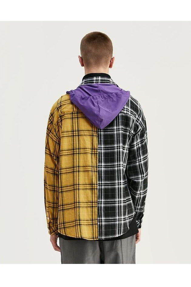 Multi Color Loose-Fit Checkered Hooded Flannel Shirt - SKYCLUB