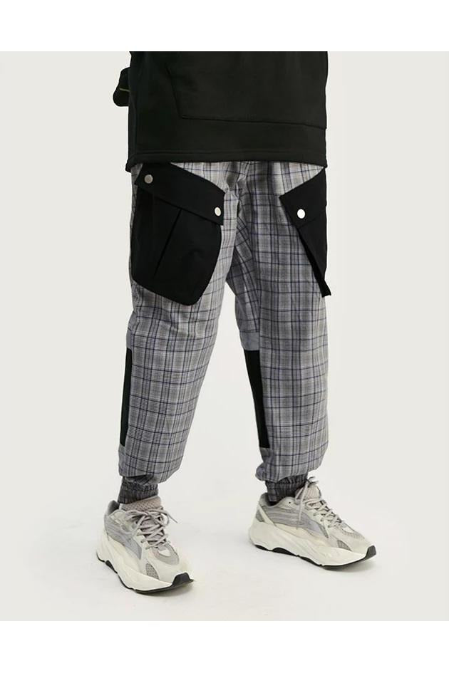 Patchwork Pockets Checkered Jogger Pants - SKYCLUB