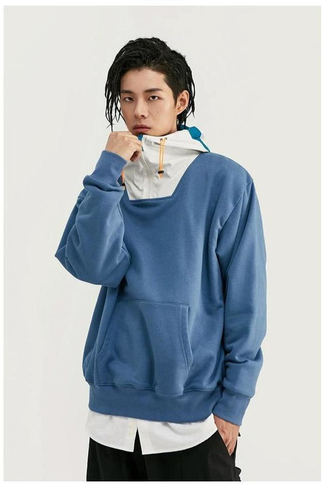 Contrast Color Hooded Pouch Pocket Loose Fit Hoodie - SKYCLUB