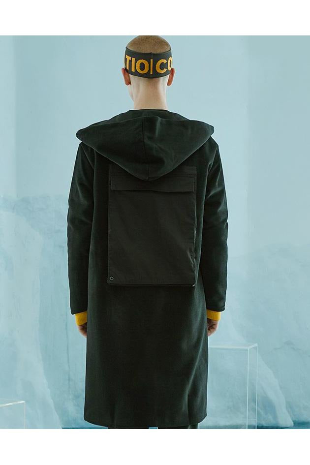 SK-W-BR-M103 WOOL HOODED COAT - SKYCLUB