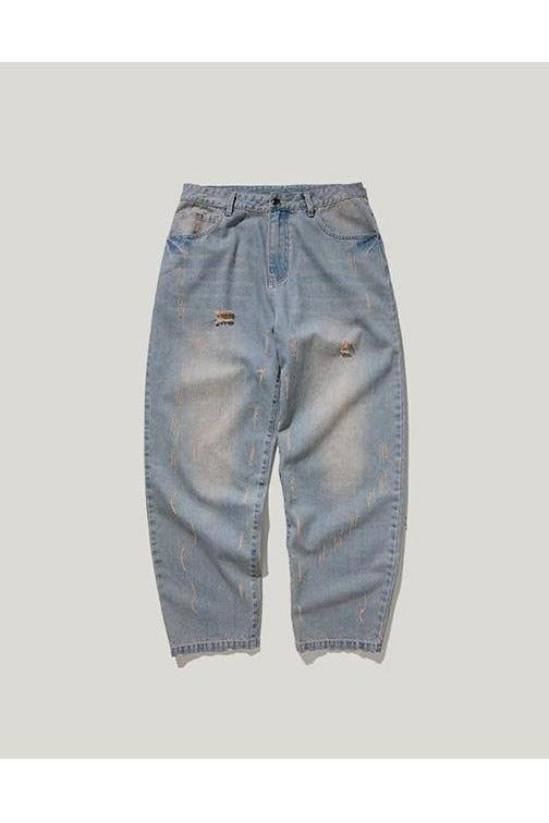 Straight Light Blue Loose Style Denim Jeans - SKYCLUB