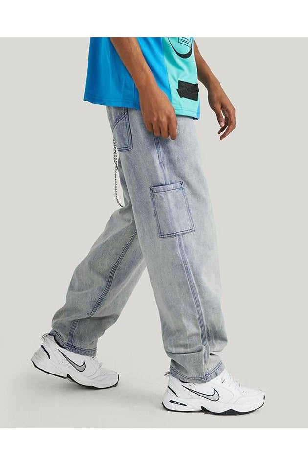 Straight Loose Denim Jeans Baggy Jeans - SKYCLUB