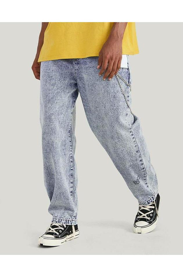Distressed Jean Blue Denim Patchwork Pockets Trousers - SKYCLUB