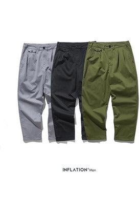 Solid Cargo Straight Baggy Simple Cotton Pants - SKYCLUB