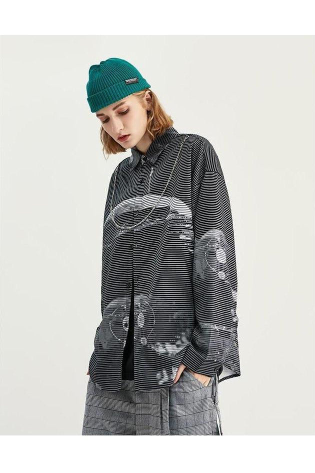Pin Stripe Graphic Oversized Shirt - SKYCLUB