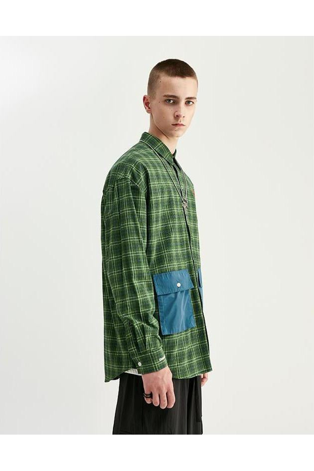 Classic Patchwork Pockets Plaid Loose Shirt - SKYCLUB