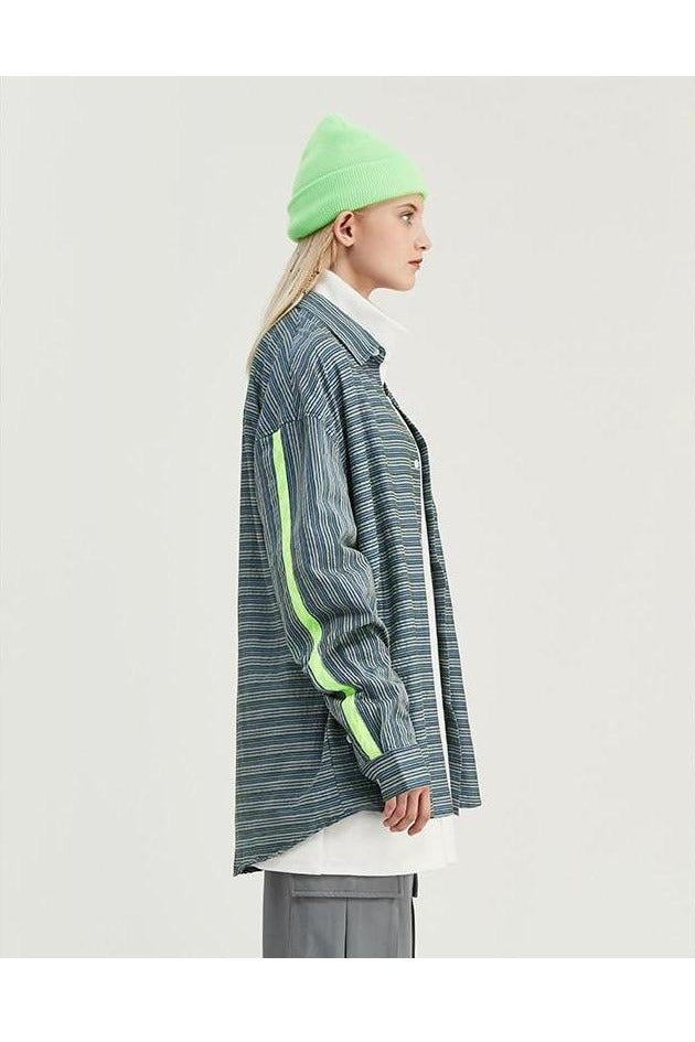 Striped Shirt Long Sleeve Green Printed Shirt - SKYCLUB