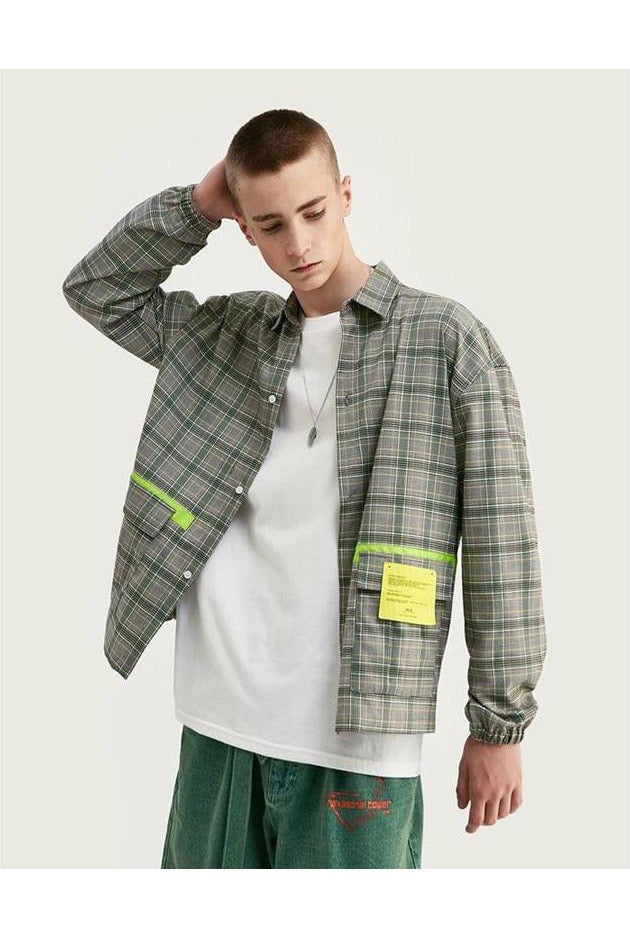 Highlighter Plaid Long Sleeve Loose Fit Shirt - SKYCLUB