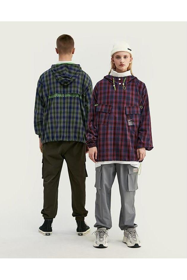 Future Fashion Plaid Streetwear Hoodie - SKYCLUB