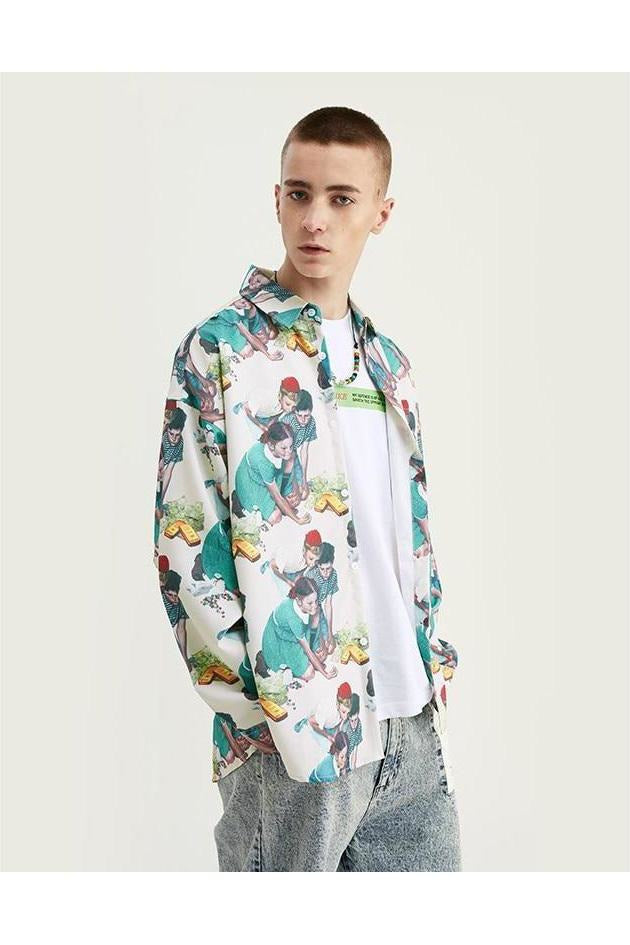 Loose Fit Digital Printing Long Sleeve Shirt - SKYCLUB