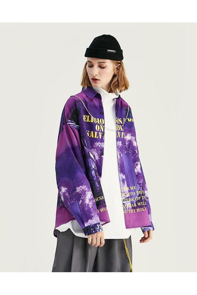 Future Vision Digital Print Long Sleeve Shirt - SKYCLUB