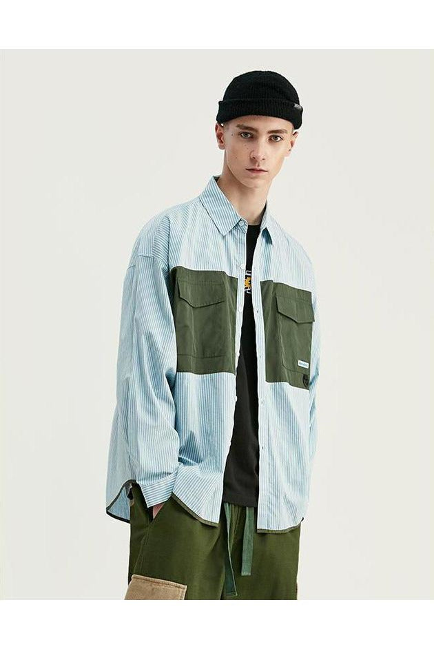 Patchwork Front Pockets Striped Oversized Shirt - SKYCLUB