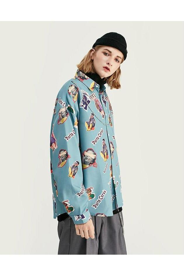 Casual Comic Printed Long Sleeve Top - SKYCLUB