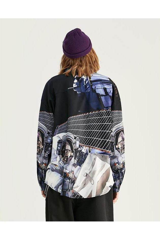 Digital Printing Harajuku Long Sleeve Street Shirt - SKYCLUB