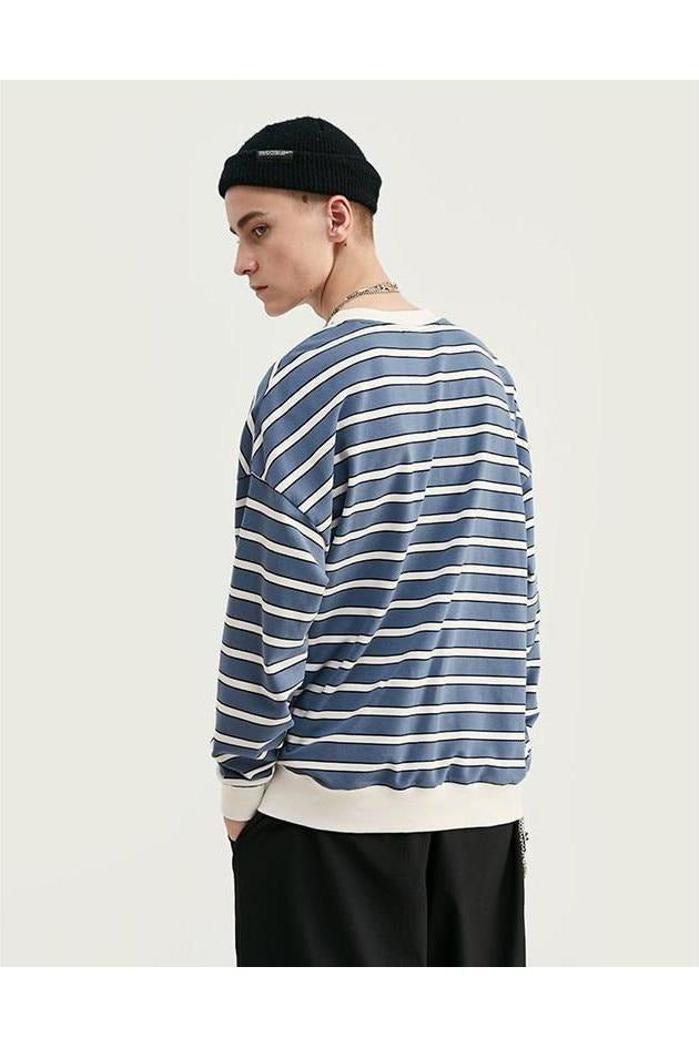 Striped Long Sleeve Cotton Loose Top - SKYCLUB