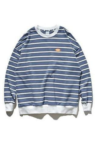 Striped Loose Pullover Long Sleeve 100% Cotton Shirt - SKYCLUB