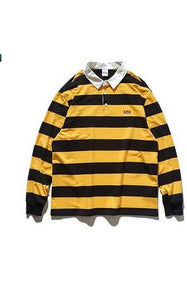 Striped Turn Down Collar Long Sleeve T-shirt - SKYCLUB