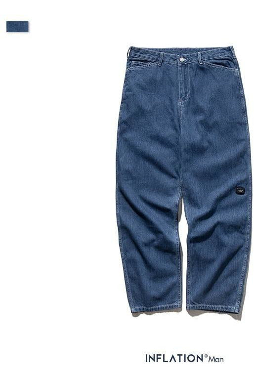Modis Loose Straight Blue Jean Pants - SKYCLUB