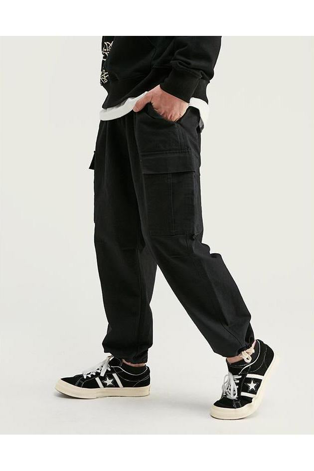 Pure Color Cargo Pants Ankle-Tied Jogger Pants - SKYCLUB