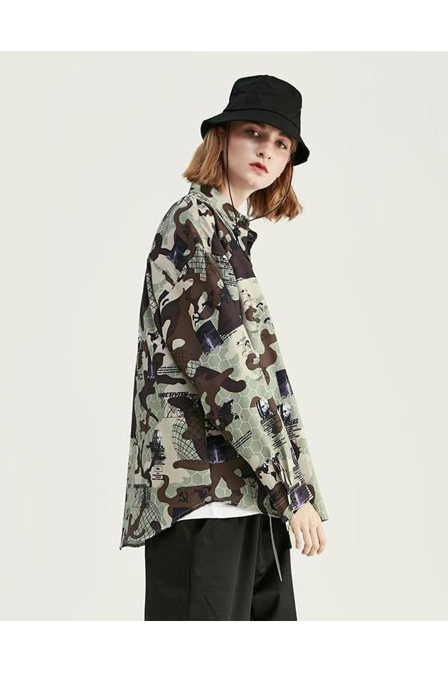 Casual Chic Camouflage Street-Wear Shirt - SKYCLUB