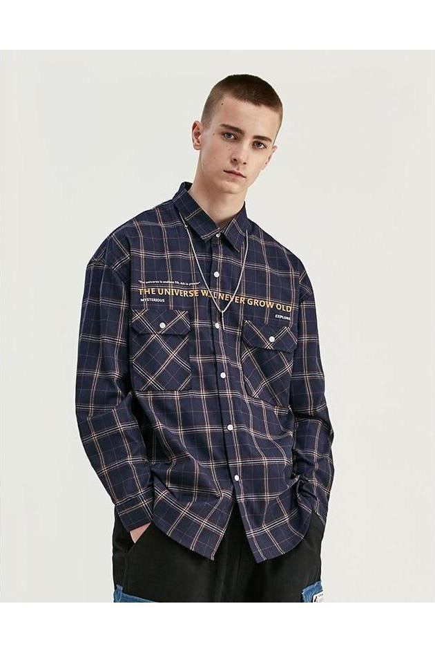 Casual Plaid Long Sleeve High Street Cotton Shirt - SKYCLUB